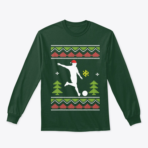 Ugly Christmas Matching Soccer Man Coach Forest Green T-Shirt Front