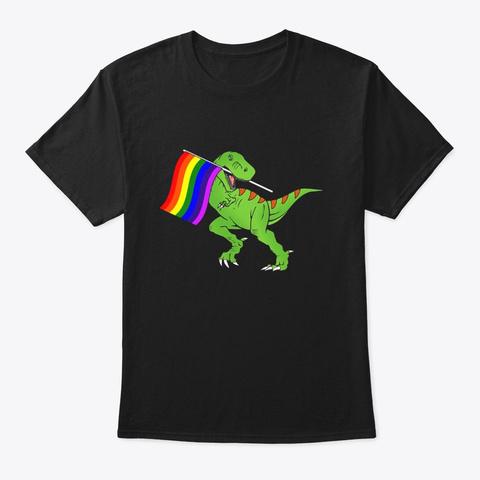 T Rex Gay Pride Lgbt Month 2018 T Shirt Black T-Shirt Front