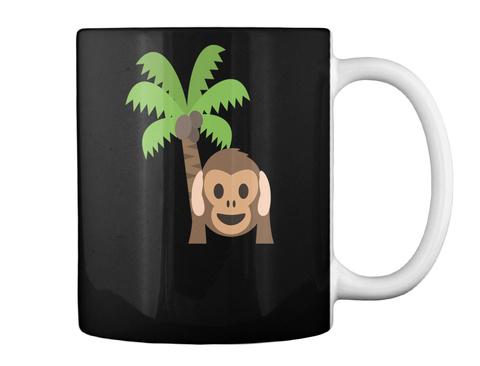 Monkey Cartoon Black T-Shirt Back