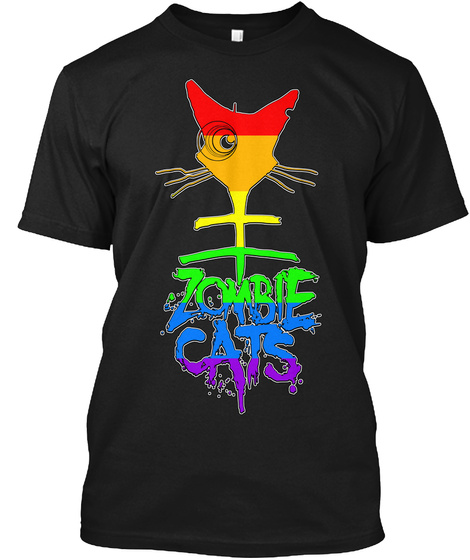 Zombie Cats Black T-Shirt Front
