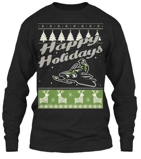Snowmobile Holidays   Christmas T Shirts Black T-Shirt Front