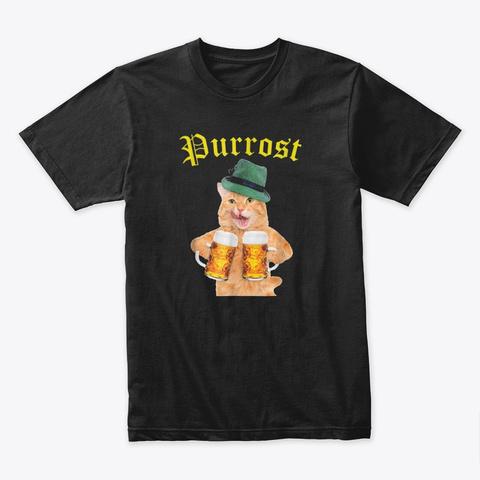 Oktoberfest Cat Kitty Drinking Purrost Black T-Shirt Front