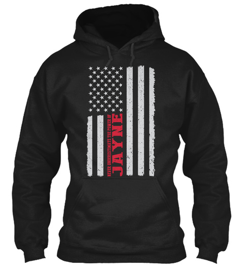 Power Of  Jayne Flag ! Black T-Shirt Front