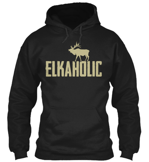 Elkaholic  Black T-Shirt Front
