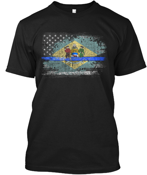 Delaware Thin Blue Line Flag Black T-Shirt Front