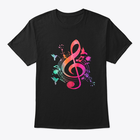 Musical Instrument Treble Clef Bird Black T-Shirt Front