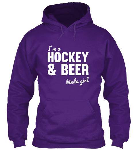 I'm A Hockey & Beer Kinda Girl Purple Sweatshirt Front