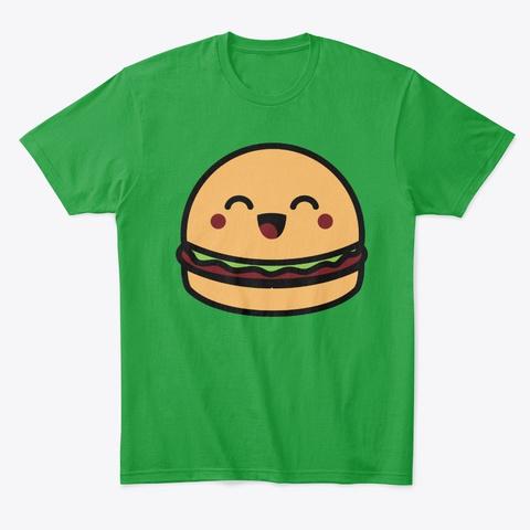 Simple Hamburger Face Halloween Costume Kelly Green T-Shirt Front