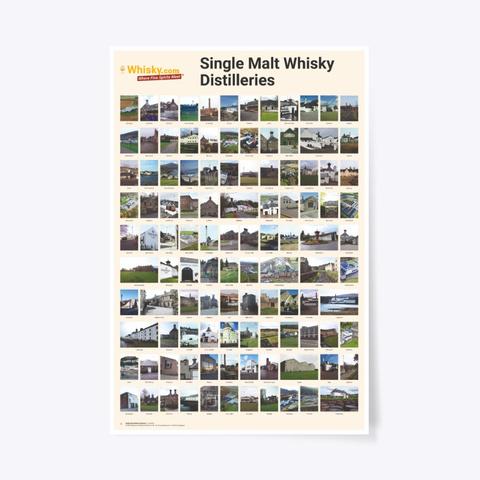 Poster Single Malt Distilleries 24x36 Standard T-Shirt Front