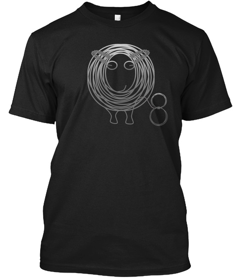 Number 8 Wire Sheep Black T-Shirt Front
