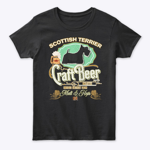 Scottish Terrier Gifts Dog Beer Lover Black T-Shirt Front