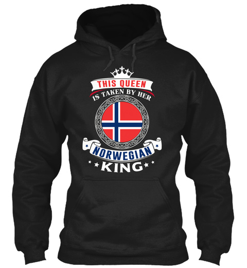 This Queen Is Taken By Norwegian King Black T-Shirt Front