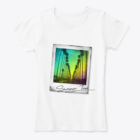 Summer, Sun, Palm Trees Beach And Sea White T-Shirt Front
