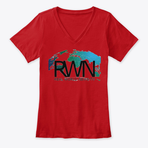 Real World News Tv Ladies V Neck T Red T-Shirt Front