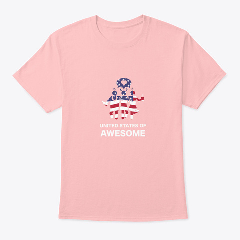 United States Of Awesome American 4th J Pale Pink T-Shirt Front