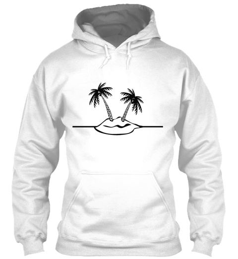 T Shirt Design Island With Palm Trees White T-Shirt Front