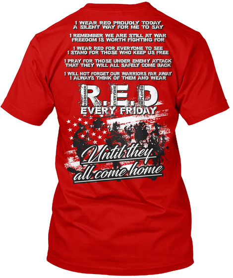 Red Friday Prayer Tshirt! Classic Red T-Shirt Back