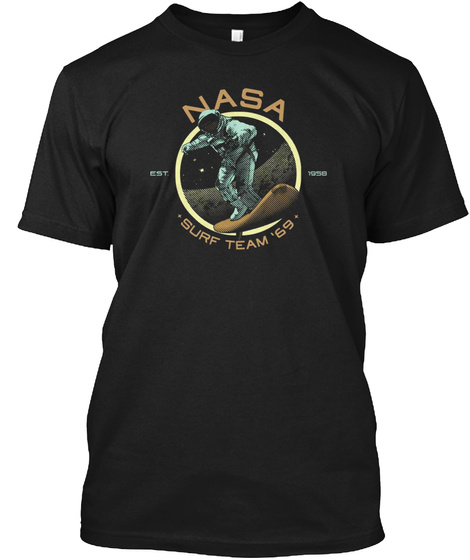 National Aeronautics Surf Team 69 Shirt Black T-Shirt Front