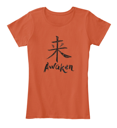 Awaken Deep Orange T-Shirt Front