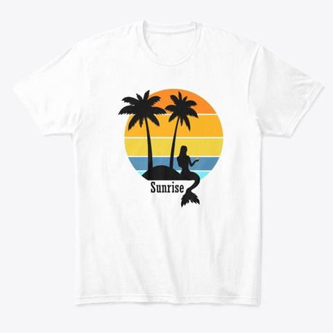Retro Sunrise Mermaid White T-Shirt Front