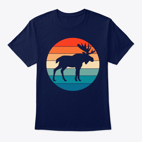 Vintage Retro Moose Lover Navy T-Shirt Front