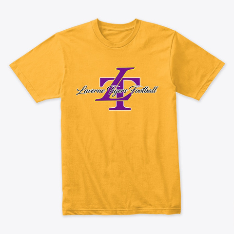 Laverne Tigers Football Gold T-Shirt Front