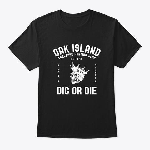 Oak Island Treasure Hunting Club Vintage Black T-Shirt Front