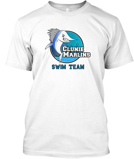 Clunie Marlins Swim Team White T-Shirt Front