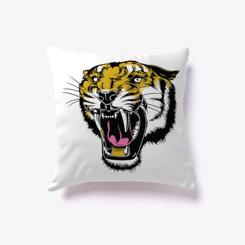 Tiger Print Pillow White T-Shirt Front