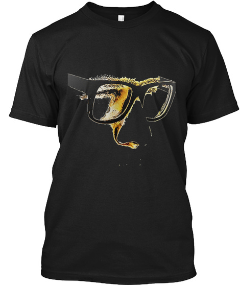 Man In Glasses T Shirt Black T-Shirt Front