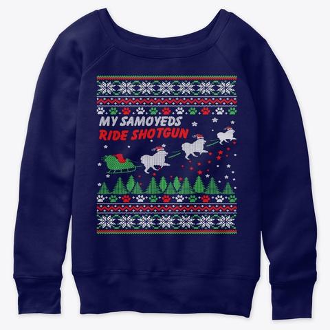 My Samoyeds Funny Christmas T Shirt 2020 Navy  T-Shirt Front