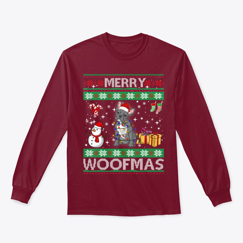 French Bulldog Dog Merry Woofmas Xmas Cardinal Red T-Shirt Front