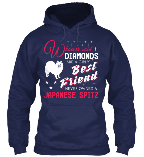 Japanese Spitz Gift Shirt. Navy T-Shirt Front