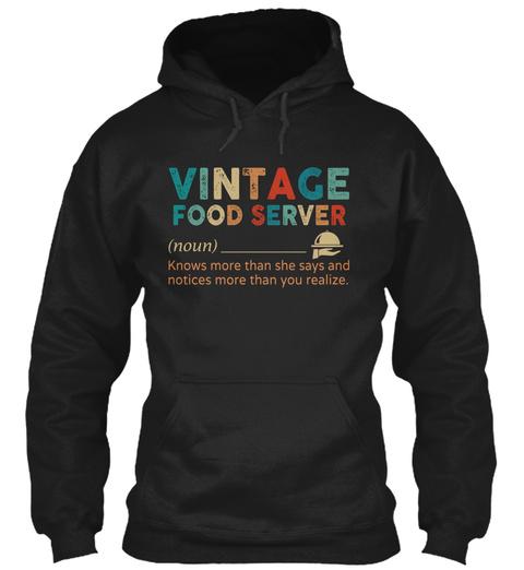 Vintage Food Server Black T-Shirt Front