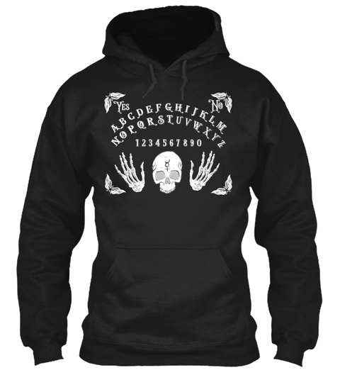 Spirit Board Skull Skeleton Halloween Black Sweatshirt Front