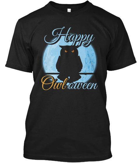 Happy Owl'oween Black Camiseta Front