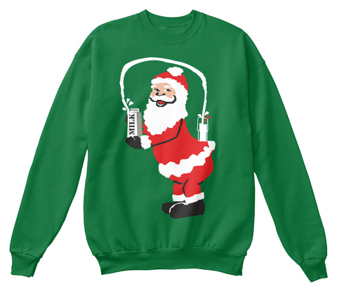 Santa Breaks Christmas Kelly Green  Sweatshirt Front