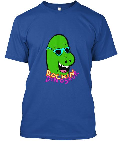 Rockin Dinosaur Deep Royal T-Shirt Front