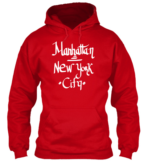 Manhattan New York City Red T-Shirt Front