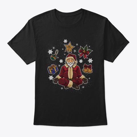 Yoga Santa Claus Meditates Under The Black T-Shirt Front