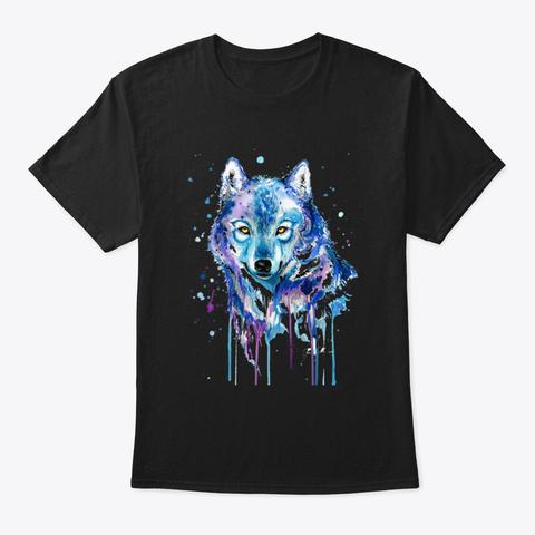 Wolf Watercolor Art Design Tee,Sweat,Mug Black T-Shirt Front
