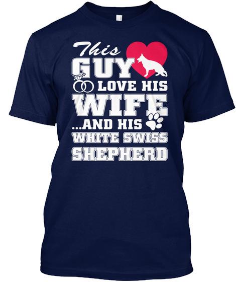White Swiss Shepherd Navy T-Shirt Front