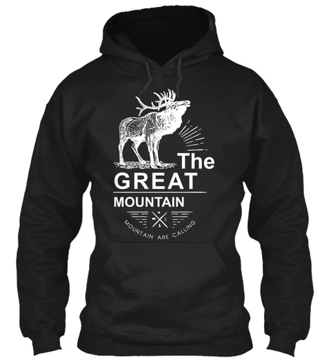 The Great Mountain Mountain Are Calling Black Sweater Lengan Panjang Front