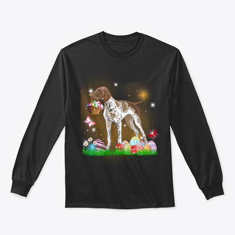 Pointer Dog Easter Day Black T-Shirt Front