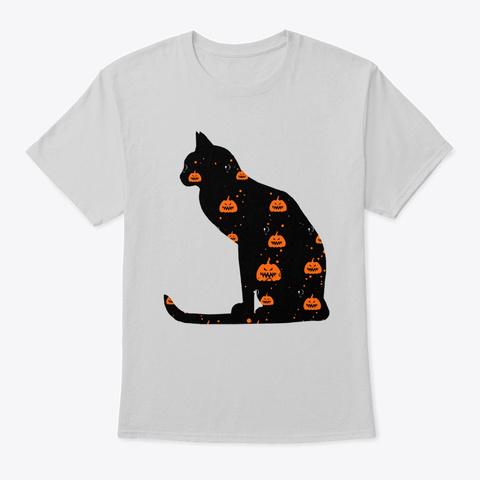 Halloween Black Cat With Pumpkin Light Steel T-Shirt Front
