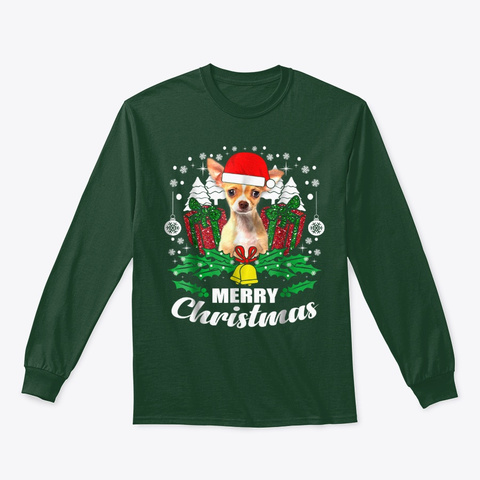 Chihuahua Merry Christmas Dog Lover Gift Forest Green T-Shirt Front
