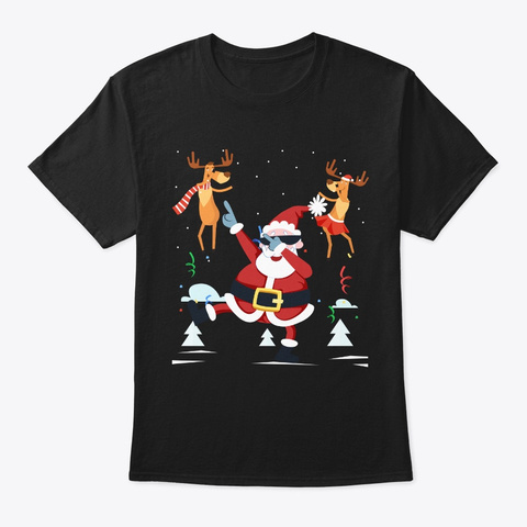 Dabbing Santa   Funny Santa Claus Christ Black T-Shirt Front