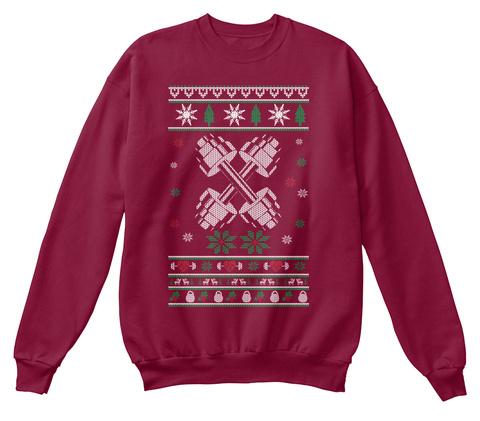 Weight Training Christmas Sweater Cardinal  T-Shirt Front