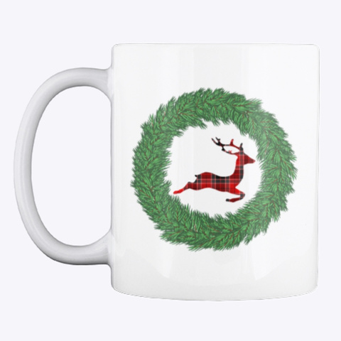 Merry Plaid Reindeer Mug White T-Shirt Front