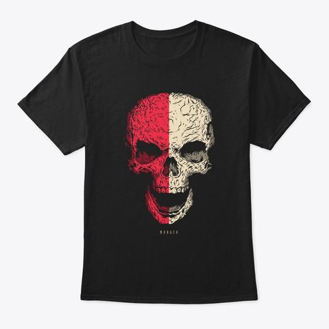 Skull Monaco Flag Skeleton Black T-Shirt Front